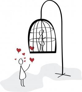 Dibujo con mujer encerrada en una jaula