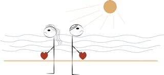 Dibujo de pareja en la playa